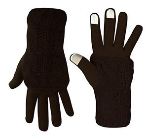 Peach Couture Classic Cable Knit Plush Fleece Lined Double Layer Winter Gloves (One Size/with Arm Warmers, Brown)
