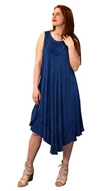 Denim Uneven Hem Caftan Dress Long Tunic Cover up (One Size,Denim)