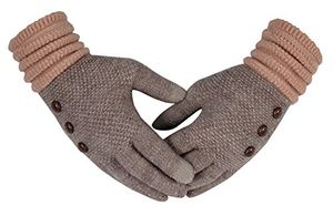 Warm Cozy Two Tone Touch Screen Gloves with Showpiece Buttons