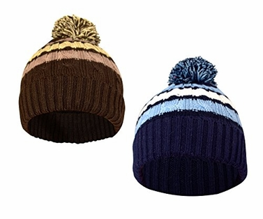 Warm Adorable Kids Striped Cable Knit Winter Pom Pom Hat 2 Pack