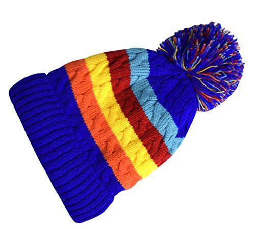 Peach Couture Classic Warm Adorable Kids Striped Cable Knit Winter Pom Pom Hat (Rainbow (3 To 6 Years))