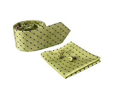 Polka Dot Silk Feel Necktie Cufflinks Handkerchief Set