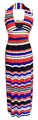 Red Blue Colorful Striped Halter Backless Vacation Maxi Dress L