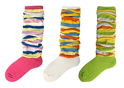 Fuchsia Green White Striped Slouch Socks 3 Pack