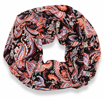 Black Damask Lightweight Infinity Loop Scarf