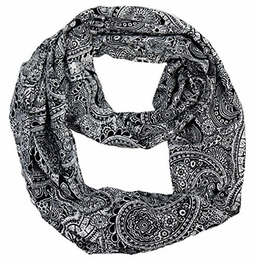Black White Victorian Damask Infinity Loop Scarf