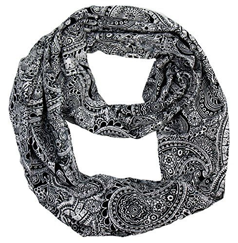 Peach Couture Colorful Victorian Damask Lightweight Infinity Loop Scarf (Black and White)