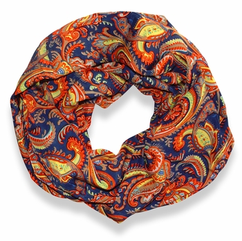 Dark Blue Damask Lightweight Infinity Loop Scarf