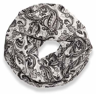 Grey Damask Lightweight Infinity Loop Scarf