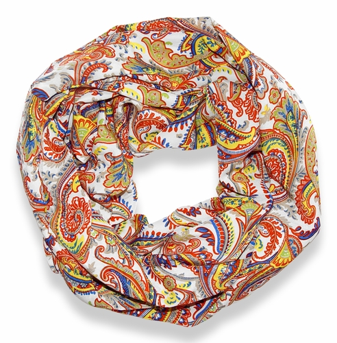 Orange Damask Lightweight Infinity Loop Scarf