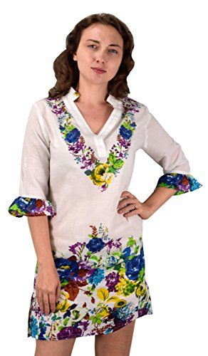 Peach Couture Cotton Floral Embroidered Vintage Petite Tunic Coverup Beachwear Blue