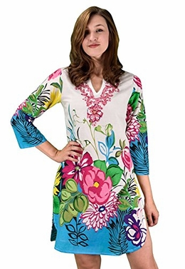 Peach Couture Cotton Floral Embroidered Vintage Petite Tunic Coverup Beachwear