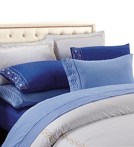 Blue Blue Vine Embossed 6 pcs Fitted Sheet Set King