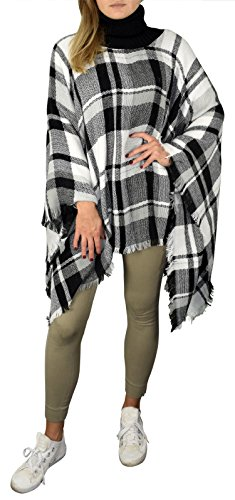 684553afea8 Black White Cowl Neck Plaid tartan blanket scarf Poncho