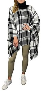 Black White Cowl Neck Plaid tartan Oversized blanket scarf Winter Poncho Sweater Pullovers