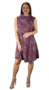 Burgundy Cowl Neck Printed Sleeveless Designer Sweater dress