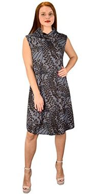 Grey Cowl Neck Printed Sleeveless Designer Sweater dress