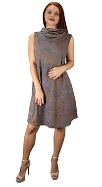 Taupe Cowl Neck Printed Sleeveless Designer Sweater dress