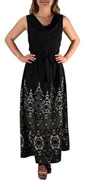 Black Cowl Neck Paisle Sleeveless Summer Maxi Dress Party Dress