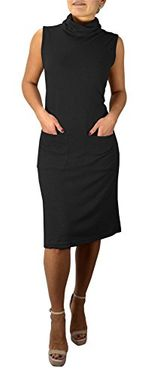 Black Cowl Neck Sleeveless Sweater Dress with Pockets