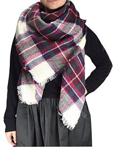 White-Fuchsia Cozy Plaid Patterned Oversized Fall or Winter Blanket Scarf Wrap
