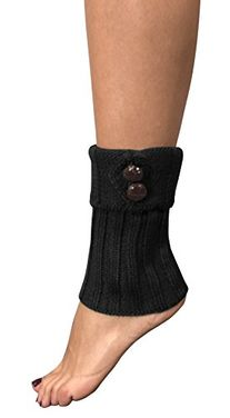 Peach Couture Cozy Soft Adjustable Knitted Winter Leg Warmers with Cute Buttons