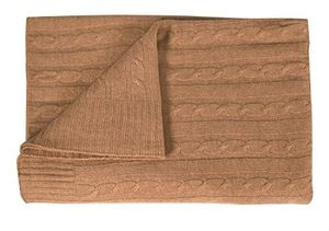 Tan Cozy & Warm Cable Knit Cashmere Wool Soft Throw Blanket