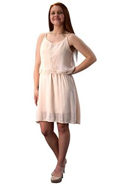 Blush Cut Out Back Knee Length Thin Strap Crochet Lining Crepe Dress Medium