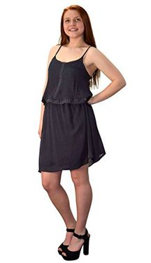 Black Cut Out Back Knee Length Thin Strap Crochet Lining Crepe Dress