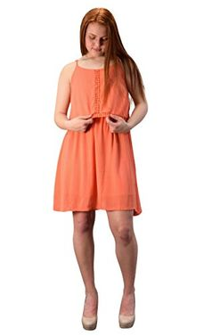 Orange Cut Out Back Knee Length Thin Strap Crochet Lining Crepe Dress