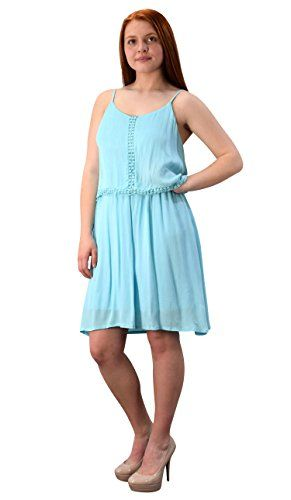Sky Blue Cut Out Back Knee Length Thin Strap Crochet Lining Crepe Dress