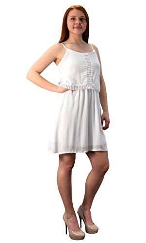 White Cut Out Back Knee Length Thin Strap Crochet Lining Crepe Dress