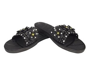 Black Floral Studded Summer Sandals Slip On Slides Flats (6 B(M) US)