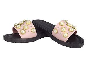 Pearl Pink Floral Studded Summer Sandals Slip On Slides Flats