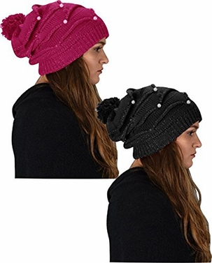 Cute Trendy 2 Pack Knitted Hats With Pearls (Fuchsia/Black)