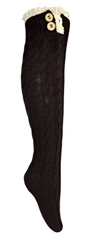 Vintage Cable Knit Boot Socks with Lace & Buttons