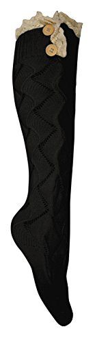 Peach Couture Cute Victorian Vintage Cable Knit Boot Socks with Lace & Buttons (Large)