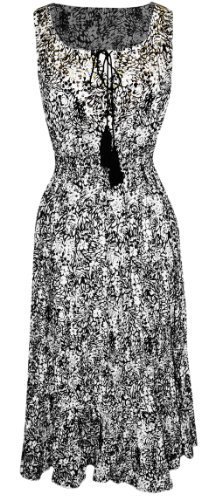 Black Damask Print Floral Neck Tie Sleeveless Summer Bodycon Maxi Dress (Med)