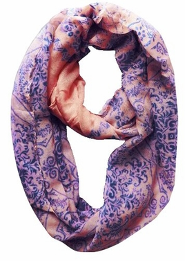 Peach Damask Printed Infinity Loop Scarves