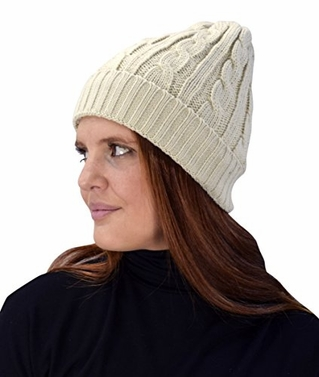 Peach Couture Double Layer Fleece Lined Unisex Cable Knit Winter Beanie Hat Cap