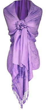 Peach Couture Double Layer Hues of Purple Jacquard Paisley Pashmina Feel Shawl