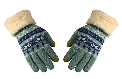 Mint Touchscreen Cute Snow Flake Pattern Winter Gloves