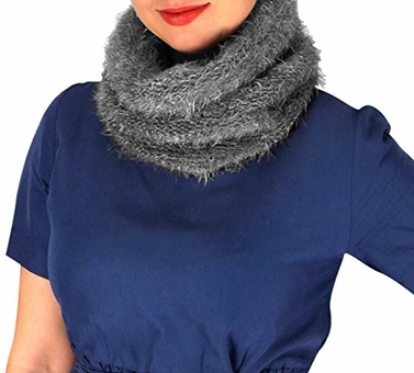 Grey Double Layer Marled Knit Cowl Neck Scarf Cozy Neck Warmer