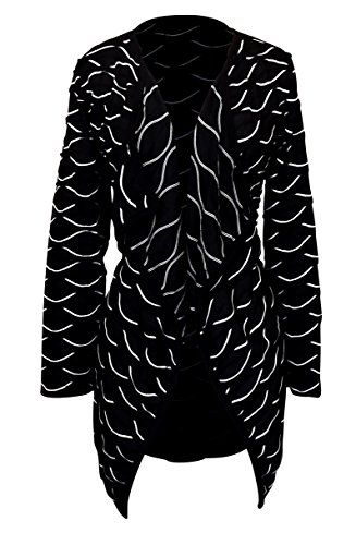 Black Open Front Long Sleeve Asym Hem Pintuck Cardigan (Large)