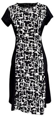 Black Abstract Multi Print Short Sleeve Loose Mini Shift Dress (Medium)