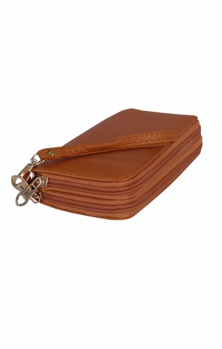 Peach Couture Elegant Stylish Simply Casual Wallet Clutch Purse Brown