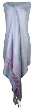Baby Blue Light Purple Vintage Jacquard Paisley Shawl Wrap
