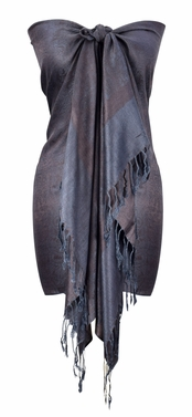 Chocolate Brown/Grey Vintage Jacquard Paisley Shawl Wrap
