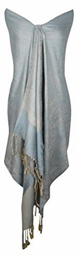 Elegant Vintage Jacquard Paisley Shawl Wrap (Light Blue/Gold)