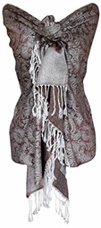 White Brown Vintage Jacquard Paisley Shawl Wrap